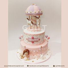 A really popular theme this year for me, the Carousel Cake! Still more of this theme coming! Gorgeous Cakes, Pretty Cakes, Amazing Cakes, Baby Girl Cakes, Baby Birthday Cakes, Fondant Cakes, Cupcake Cakes, Cupcakes, Carousel Cake