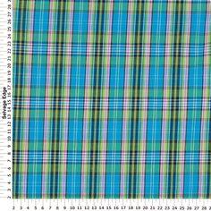 madras plaid   Madras Plaid - Blue and Green Plaid Cotton Fabric