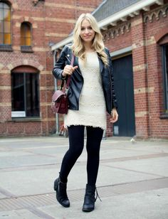 lace dress with black tights