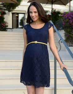 Navy Lace Maternity Dress