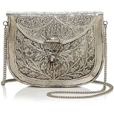St. Xavier Riley Clutch ($120) ❤ liked on Polyvore featuring bags, handbags, clutches, silver, floral handbags, brown purse, brown crossbody purse, western handbags and brown crossbody