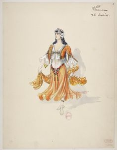 "Costume design (1907), by Charles Bétout (1869-1945), for twelve slaves, in ""Thamara"" (1881), by Louis-Albert Bourgault-Ducoudray (1840-1910)."