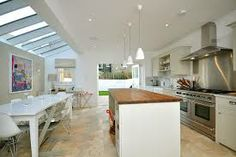 Kitchen extension into side elevation Kitchen With Long Island, Country Kitchen Island, Stools For Kitchen Island, Long Kitchen, Open Plan Kitchen, New Kitchen, Kitchen Ideas, Kitchen Designs, Kitchen Tops