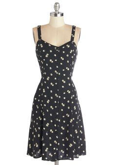 Nights and Daisies Dress in Dots. Like floating flower petals, this lovely black dress will flutter softly in the breeze. #black #modcloth