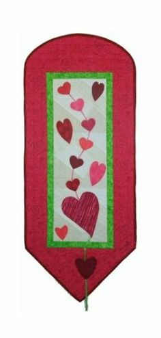 "Heart Strings 16 x 39"" Quilt Pattern Valentine Wall Hanging"