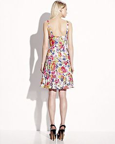 TIERED BUTTON FRONT PRINT SUNDRESS WHITE MULTI