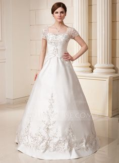 A-Line/Princess Square Neckline Floor-Length Embroidered Ruffle Beading Sequins Zipper Up Sleeves Short Sleeves Church General Plus No Fall Ivory Satin Wedding Dress