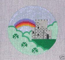 Painted Pony Ireland Travel Round Handpainted Needlepoint Canvas
