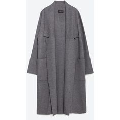 Zara Long Coat With Draped Neck (500 PLN) ❤ liked on Polyvore featuring outerwear, coats, veste, long coat, zara coat and longline coat