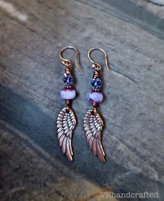 boho angel wing earrings, rustic angel wing earrings, copper earrings, purple angel wing earrings, religious earrings, bohemian earrings Wire Wrapped Earrings, Copper Earrings, Boho Earrings, Boho Jewelry, Drop Earrings, Angel Wing Earrings, Mothers Day Presents, Religious Jewelry, Czech Glass Beads