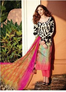 Jinaam 8379-Pakistani Style Cotton Suit Dupatta with Pajami/Plazo