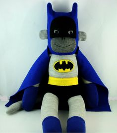 Batman the Sock Monkey  Silver Age  Made to Order by YouMakeMeMe, $36.00