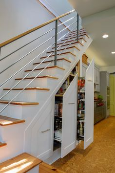 Closet Space Under Stairs Design Ideas, Pictures, Remodel, and Decor Staircase Storage, Stair Storage, Staircase Design, Stair Design, Staircase Ideas, Hidden Storage, Staircase Pictures, Basement Staircase, Tile Stairs