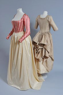 Pink and cream silk bodice (replica petticoat and overskirt), 1790-1795 and Silk polonaise gown, c.1780 Royal Pavilion & Museums, Brighton & Hove