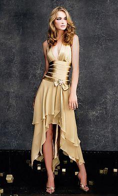 La Femme halter dress. Asymmetrical layered A-line dress with v-neck halter. Gold satin lining, shiny side in.