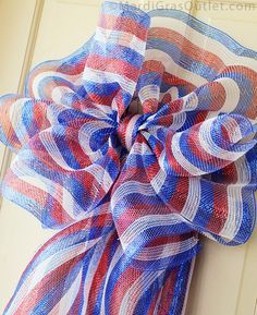 21-inch Poly Mesh Roll: a Red, White, and Blue Striped Bow is a quick and easy way to decorate for the upcoming July 4th Holiday