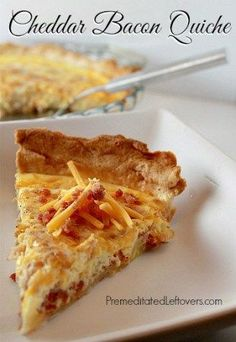 This Cheddar Bacon Quiche recipe comes together quickly. This quiche recipe is v… This Cheddar Bacon Quiche recipe comes together quickly. This quiche recipe is very flexible allowing you to use what ever ingredients you have on hand. Easy Quiche, Bacon Quiche, Frittata, Recipes Using Bacon, Cooking Recipes, Quiches, Breakfast Dishes, Breakfast Recipes, Breakfast Casserole