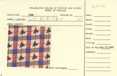 Plaid with triangles print on cotton. Unknown manufacturer. November 19, 1890.