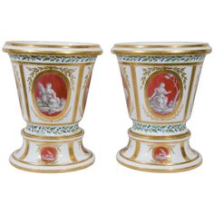 A Pair of 18th Century French Cache Pots from The Queen's Factory | From a unique collection of antique and modern porcelain at https://www.1stdibs.com/furniture/dining-entertaining/porcelain/