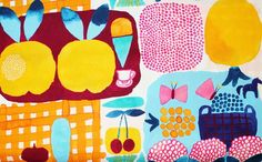Marimekko Fabric Kesätori Orange 145x50cm by Aino Maija Metsola | eBay