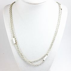 "White Bamboo Rope Length Necklace Vintage 50"" Long Chain n746"