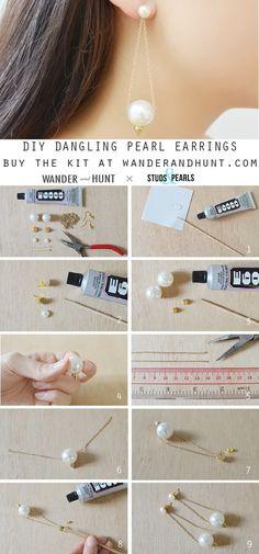 http://wanderandhunt.com/blogs/tutorials/14234125-diy-studs-and-pearls-kit-dangling-pearl-earrings #handmadejewelry