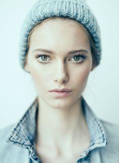 { blue } makeup.