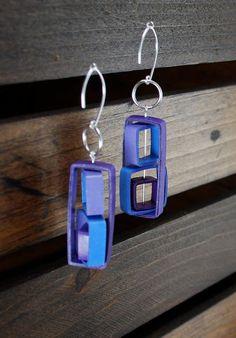 Boucles d'oreilles papier moderne / léger boucles d'oreilles bijoux de papier / / Eco Friendly bijoux / argent Sterling boucle d oreille - Rubix