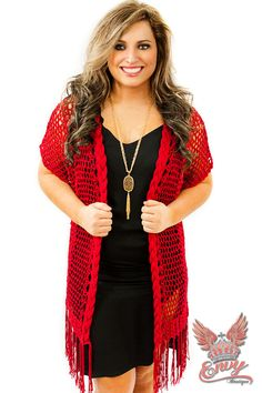 Envy Crochet Kimono - $44.95 - The Envy Crochet Kimono in a brilliant red is stunning, a loose crocheted robe styled sweater / shawl, with its wide sleeves and tassel fringe is such an elegant look!  | available at http://www.envyboutique.us/shop/envy-crochet-kimono/ |  #Envy #Boutique #fashion #fashiontrends