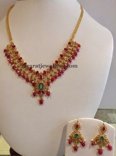 Jewellery Designs: Ruby Drops Necklace 29gms