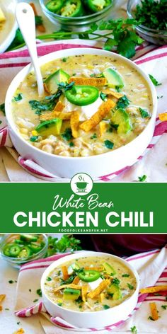 This 30-Minute White Chicken Chili recipe is so easy to make and it will quickly become a family favorite! Follow Food Folks and Fun for more quick and easy dinner recipes!