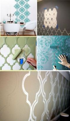 05 alternativas para o papel de parede - A Casa que a minha Vó queriaA Casa que a minha Vó queriaAccent Wall Ideas - To assist get your creative juices going and to offer you a few of our favored ideas, below are 35 simple accent wall surface conce Diy Wall Painting, Diy Wall Art, Painting An Accent Wall, Stencil Painting, Stenciling, Wallpaper Wall, Diy Home Decor, Room Decor, Diy Casa