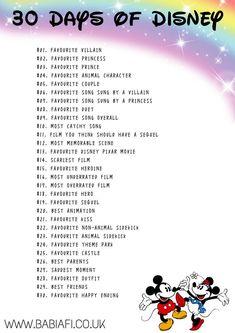 Babi a Fi: 30 Day Disney Challenge Disney Challenge, Disney Drawing Challenge, Art Journal Challenge, 30 Day Drawing Challenge, Art Style Challenge, Writing Challenge, 30 Day Challenge, 30 Day Instagram Challenge, Art Journal Prompts