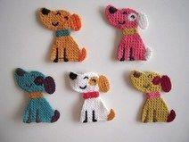 5 Cute crochet applique little smiling dogs, to repair or to decorate. Crochet Video, Love Crochet, Diy Crochet, Crochet Crafts, Crochet Dolls, Yarn Crafts, Crochet Flowers, Crochet Projects, Appliques Au Crochet