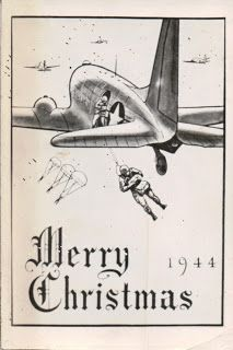 Front of a Christmas card Lee Jackson sent to his mother from his tour in WW II in He was in the Airborne Division Vintage Christmas Cards, Retro Christmas, Vintage Cards, Xmas Cards, Vintage Postcards, Christmas Past, Christmas Images, Christmas Things, Christmas Graphics