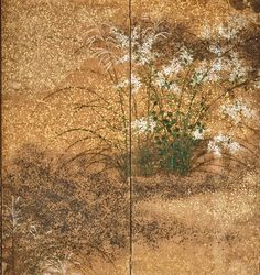 Detail. Japanese Folding Screen with Design of Autumn Flowers. Artist Unknown. Rinpa School. Early Edo Period