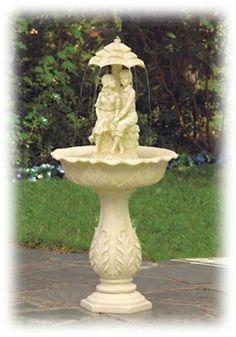 Young Couple Under an Umbrella 42 Inch Outdoor Bird Bath Fountain