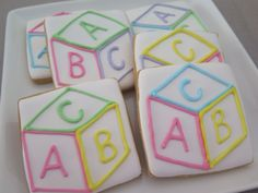 Baby block cookies for a baby shower