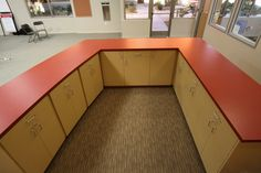 Custom Workstation with laminate cabinets and countertops. Brea, CA.