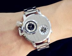 Fashion Silver Business Full Stainless Steel Dual Dials Sport Army Quartz Watch Wristwatch for Men Boy Male High Quality Cartier, Watch Sale, Bracelets For Men, Quartz Watch, Fashion Watches, Watches For Men, Men's Watches, Watches Online, Bracelet Watch