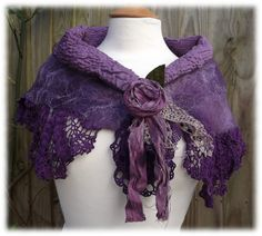 Mauve and Purple Woodland Gypsy Shawlette - nuno felted lace shawl on Etsy, $89.00