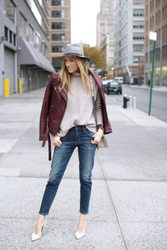 Girlfriend Jeans-Madewell Sweater-Nude Pumps-NYC Style The Perfect Girlfriend, Chanel Le Boy, Girlfriend Jeans, Nude Pumps, Nyc Fashion, Waffle Knit, Sweater Jacket, Outfit Of The Day
