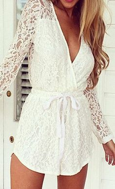 White Lace V-neck Romper - Long Sleeves Lace Romper For the honeymoon