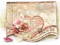Scrap Escape: Small Art Big Passion Card - Using the August Flying Unicorn Kit Wedding Anniversary Cards, Wedding Cards, Shabby Chic Cards, Spellbinders Cards, Passementerie, Beautiful Handmade Cards, Heartfelt Creations, Heart Cards, Small Art