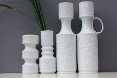 4 bisque vases white porcelain Germany Royal par wohnraumformer