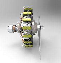Motor radial de 9 cilindros.