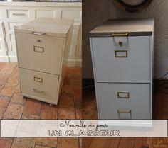 Meuble classeur industriel 4 tiroirs m tal patin cir for Meuble classement papier