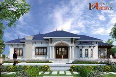 Thiết kế nhà vườn 280m2 4 phòng ngủ mặt tiền 16m ở Hậu Giang BT1804 Indian House Exterior Design, Classic House Exterior, Modern Exterior House Designs, Classic House Design, Latest House Designs, Dream House Exterior, Modern Bungalow House Design, Modern Small House Design, Model House Plan