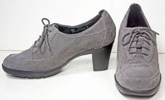 NWOB Women's Clarks Bendables Grey Suede Oxford Heels Shoes 6½ M  #Clarks #LaceUps