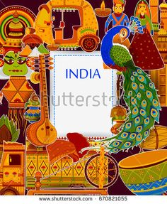 Incredible India background depicting Indian colorful culture and religion in vector